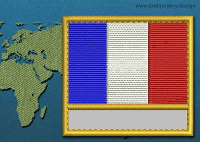 This Flag of France Customizable Text  with a Gold border design was digitized and embroidered by www.embroidery.design.