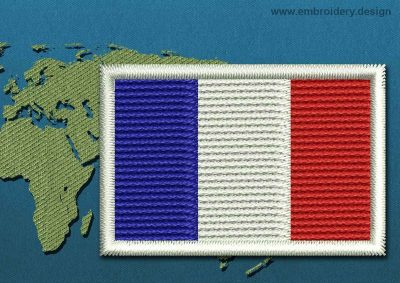 This Flag of France Mini with a Colour Coded border design was digitized and embroidered by www.embroidery.design.