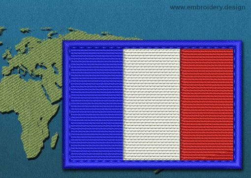 This Flag of France Rectangle with a Colour Coded border design was digitized and embroidered by www.embroidery.design.