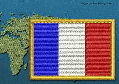 This Flag of France Rectangle with a Gold border design was digitized and embroidered by www.embroidery.design.