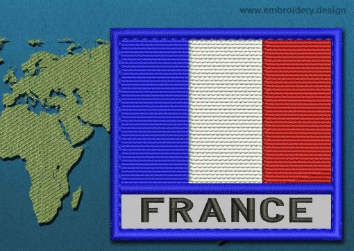 This Flag of France Text with a Colour Coded border design was digitized and embroidered by www.embroidery.design.