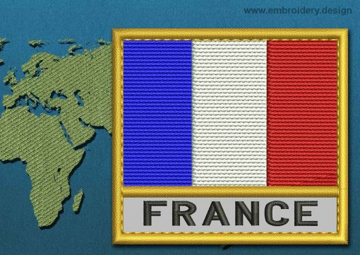 This Flag of France Text with a Gold border design was digitized and embroidered by www.embroidery.design.