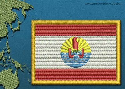 This Flag of French Polynesia Rectangle with a Gold border design was digitized and embroidered by www.embroidery.design.