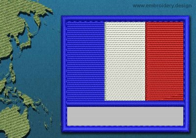 This Flag of French Southern and Antarctic Lands Customizable Text  with a Colour Coded border design was digitized and embroidered by www.embroidery.design.