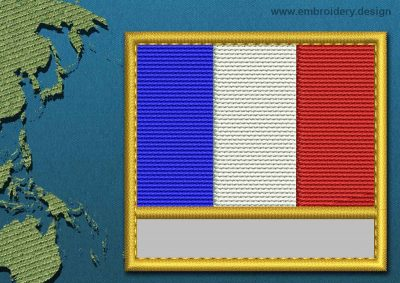 This Flag of French Southern and Antarctic Lands Customizable Text  with a Gold border design was digitized and embroidered by www.embroidery.design.