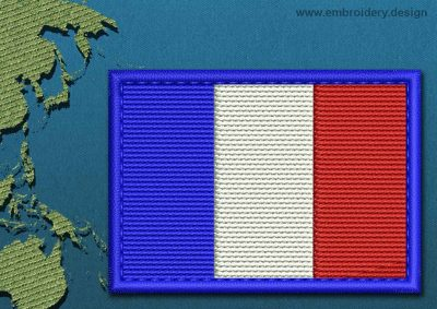 This Flag of French Southern and Antarctic Lands Rectangle with a Colour Coded border design was digitized and embroidered by www.embroidery.design.