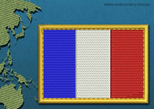 This Flag of French Southern and Antarctic Lands Rectangle with a Gold border design was digitized and embroidered by www.embroidery.design.
