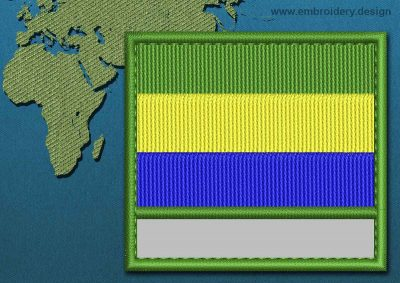 This Flag of Gabon Customizable Text  with a Colour Coded border design was digitized and embroidered by www.embroidery.design.