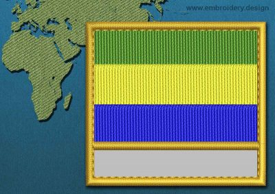 This Flag of Gabon Customizable Text  with a Gold border design was digitized and embroidered by www.embroidery.design.