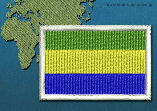 This Flag of Gabon Mini with a Colour Coded border design was digitized and embroidered by www.embroidery.design.