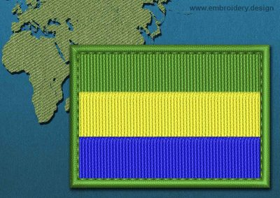 This Flag of Gabon Rectangle with a Colour Coded border design was digitized and embroidered by www.embroidery.design.