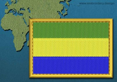 This Flag of Gabon Rectangle with a Gold border design was digitized and embroidered by www.embroidery.design.