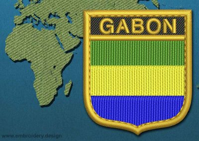 This Flag of Gabon Shield with a Gold border design was digitized and embroidered by www.embroidery.design.