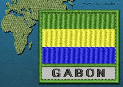 This Flag of Gabon Text with a Colour Coded border design was digitized and embroidered by www.embroidery.design.