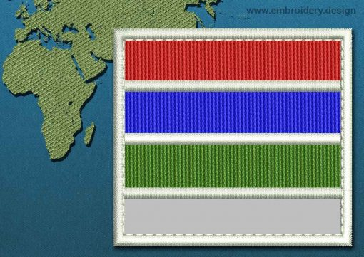 This Flag of Gambia Customizable Text  with a Colour Coded border design was digitized and embroidered by www.embroidery.design.
