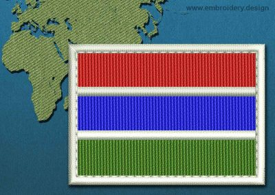 This Flag of Gambia Rectangle with a Colour Coded border design was digitized and embroidered by www.embroidery.design.