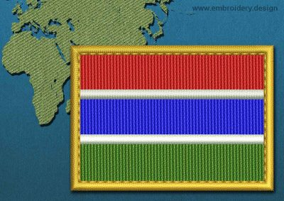 This Flag of Gambia Rectangle with a Gold border design was digitized and embroidered by www.embroidery.design.