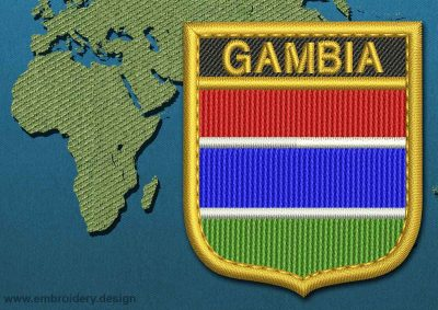 This Flag of Gambia Shield with a Gold border design was digitized and embroidered by www.embroidery.design.