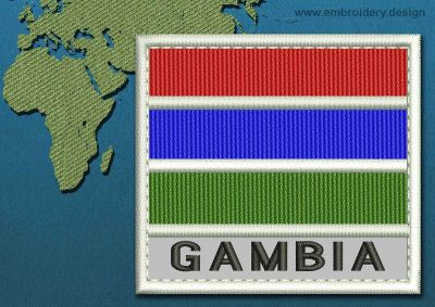 This Flag of Gambia Text with a Colour Coded border design was digitized and embroidered by www.embroidery.design.