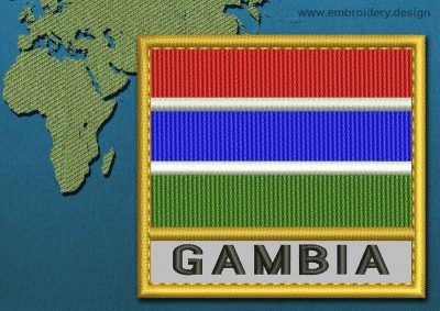 This Flag of Gambia Text with a Gold border design was digitized and embroidered by www.embroidery.design.