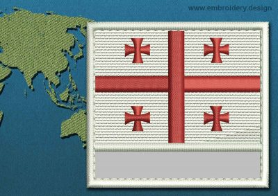 This Flag of Georgia Customizable Text  with a Colour Coded border design was digitized and embroidered by www.embroidery.design.