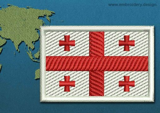 This Flag of Georgia Mini with a Colour Coded border design was digitized and embroidered by www.embroidery.design.