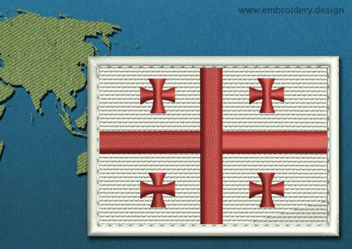This Flag of Georgia Rectangle with a Colour Coded border design was digitized and embroidered by www.embroidery.design.