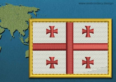 This Flag of Georgia Rectangle with a Gold border design was digitized and embroidered by www.embroidery.design.