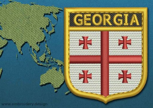 This Flag of Georgia Shield with a Gold border design was digitized and embroidered by www.embroidery.design.