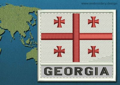 This Flag of Georgia Text with a Colour Coded border design was digitized and embroidered by www.embroidery.design.