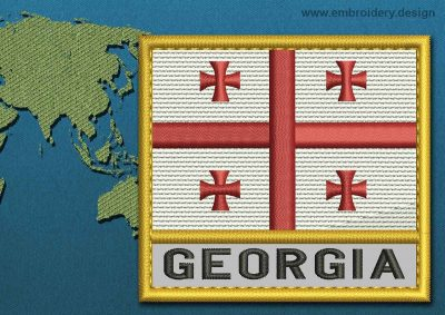 This Flag of Georgia Text with a Gold border design was digitized and embroidered by www.embroidery.design.