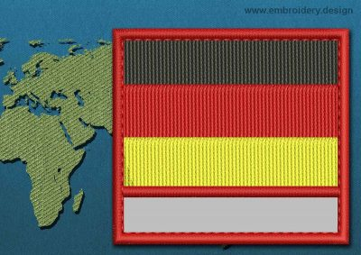 This Flag of Germany Customizable Text  with a Colour Coded border design was digitized and embroidered by www.embroidery.design.