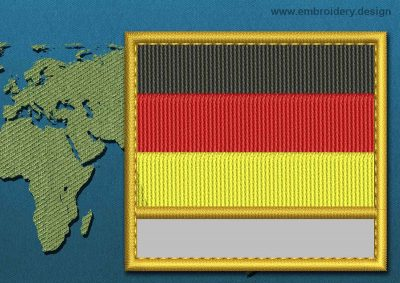 This Flag of Germany Customizable Text  with a Gold border design was digitized and embroidered by www.embroidery.design.