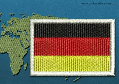 This Flag of Germany Mini with a Colour Coded border design was digitized and embroidered by www.embroidery.design.