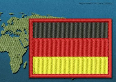 This Flag of Germany Rectangle with a Colour Coded border design was digitized and embroidered by www.embroidery.design.