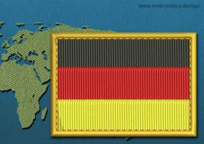 This Flag of Germany Rectangle with a Gold border design was digitized and embroidered by www.embroidery.design.