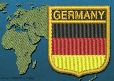 This Flag of Germany Shield with a Gold border design was digitized and embroidered by www.embroidery.design.