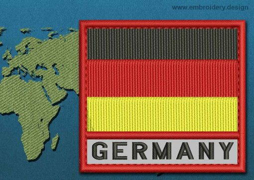 This Flag of Germany Text with a Colour Coded border design was digitized and embroidered by www.embroidery.design.