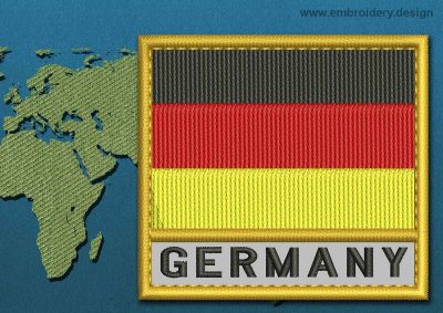 This Flag of Germany Text with a Gold border design was digitized and embroidered by www.embroidery.design.