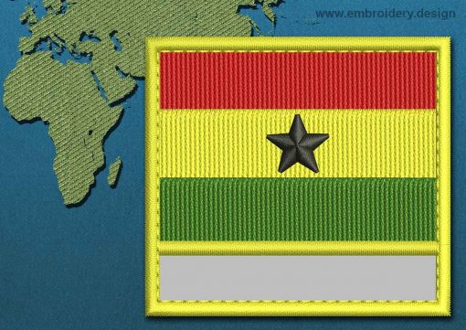 This Flag of Ghana Customizable Text  with a Colour Coded border design was digitized and embroidered by www.embroidery.design.