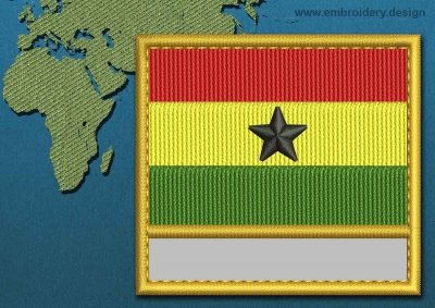 This Flag of Ghana Customizable Text  with a Gold border design was digitized and embroidered by www.embroidery.design.