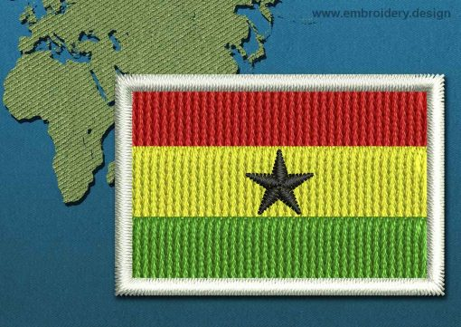 This Flag of Ghana Mini with a Colour Coded border design was digitized and embroidered by www.embroidery.design.