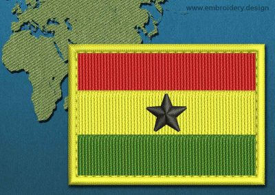 This Flag of Ghana Rectangle with a Colour Coded border design was digitized and embroidered by www.embroidery.design.
