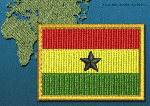 This Flag of Ghana Rectangle with a Gold border design was digitized and embroidered by www.embroidery.design.