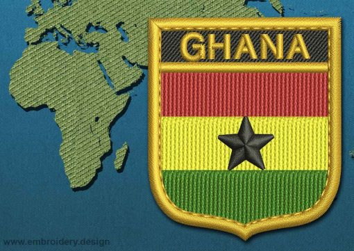 This Flag of Ghana Shield with a Gold border design was digitized and embroidered by www.embroidery.design.