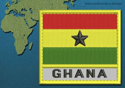 This Flag of Ghana Text with a Colour Coded border design was digitized and embroidered by www.embroidery.design.