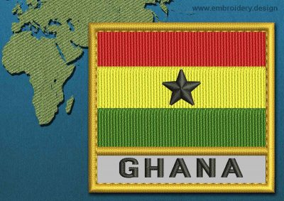 This Flag of Ghana Text with a Gold border design was digitized and embroidered by www.embroidery.design.