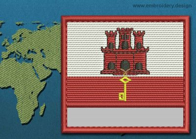 This Flag of Gibraltar Customizable Text  with a Colour Coded border design was digitized and embroidered by www.embroidery.design.