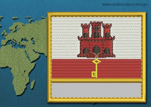 This Flag of Gibraltar Customizable Text  with a Gold border design was digitized and embroidered by www.embroidery.design.
