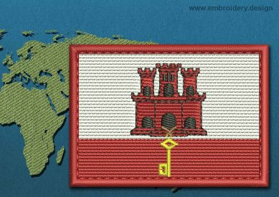 This Flag of Gibraltar Rectangle with a Colour Coded border design was digitized and embroidered by www.embroidery.design.
